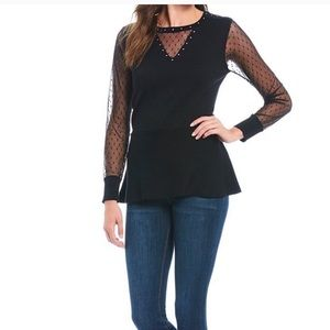 Peter Nygard Black Peplum Sweater Top S